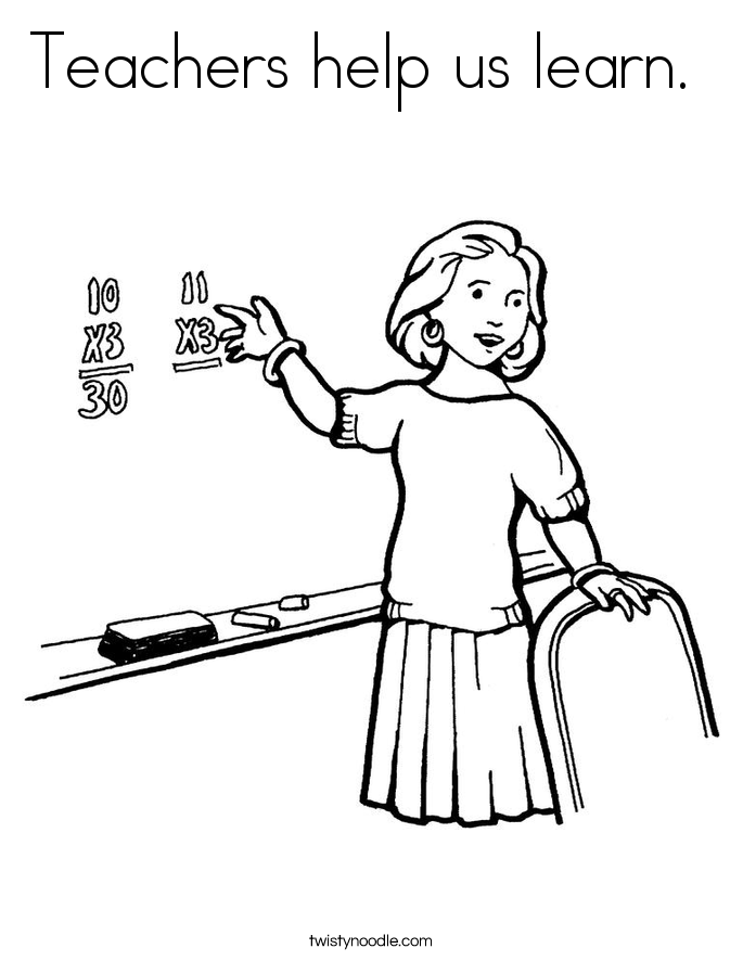 Teachers help us learn.  Coloring Page