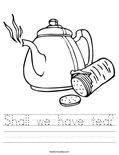 Shall we have tea? Worksheet