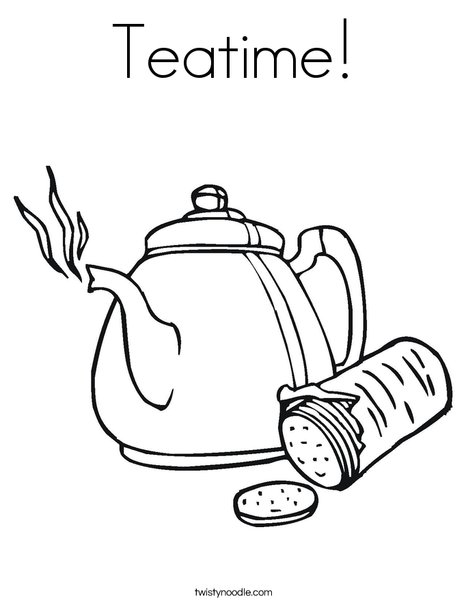 Teapot with Crackers Coloring Page