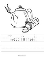 Teatime Handwriting Sheet