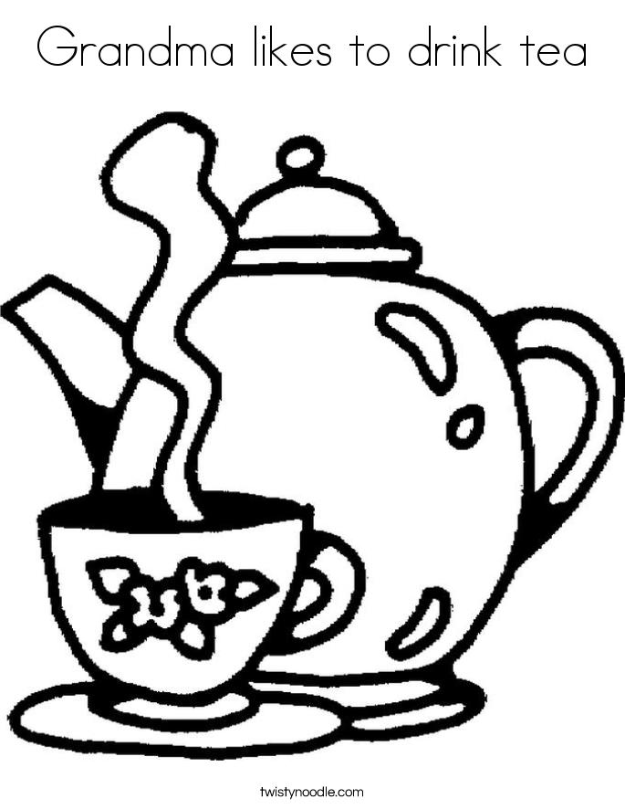 Grandma likes to drink tea Coloring Page