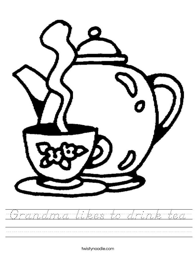 Grandma likes to drink tea Worksheet