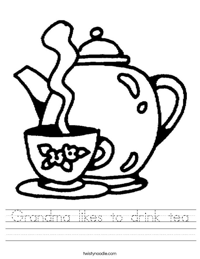 Grandma likes to drink tea Worksheet