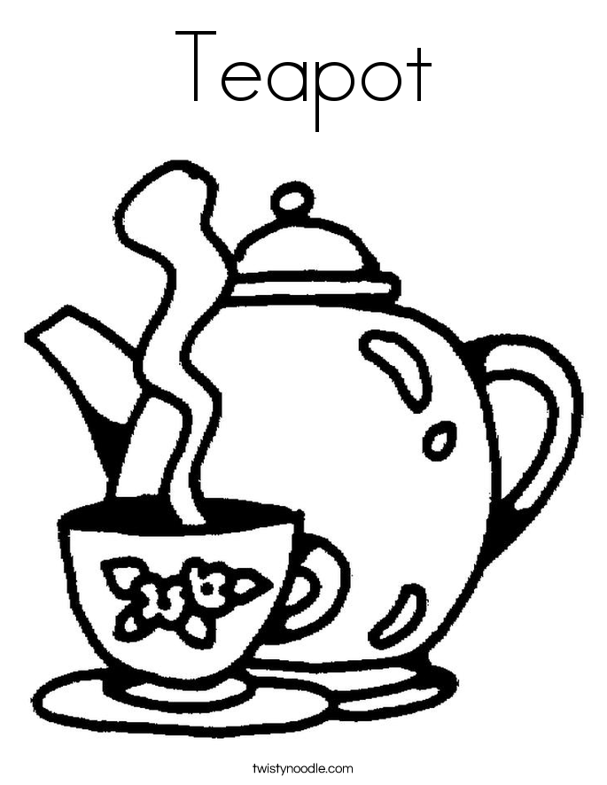 Teapot Coloring Page Twisty Noodle