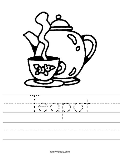 Teapot with Cup Worksheet