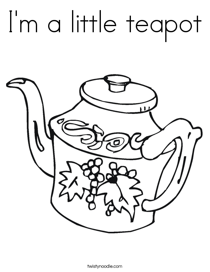 i am a little teapot coloring pages - photo #2