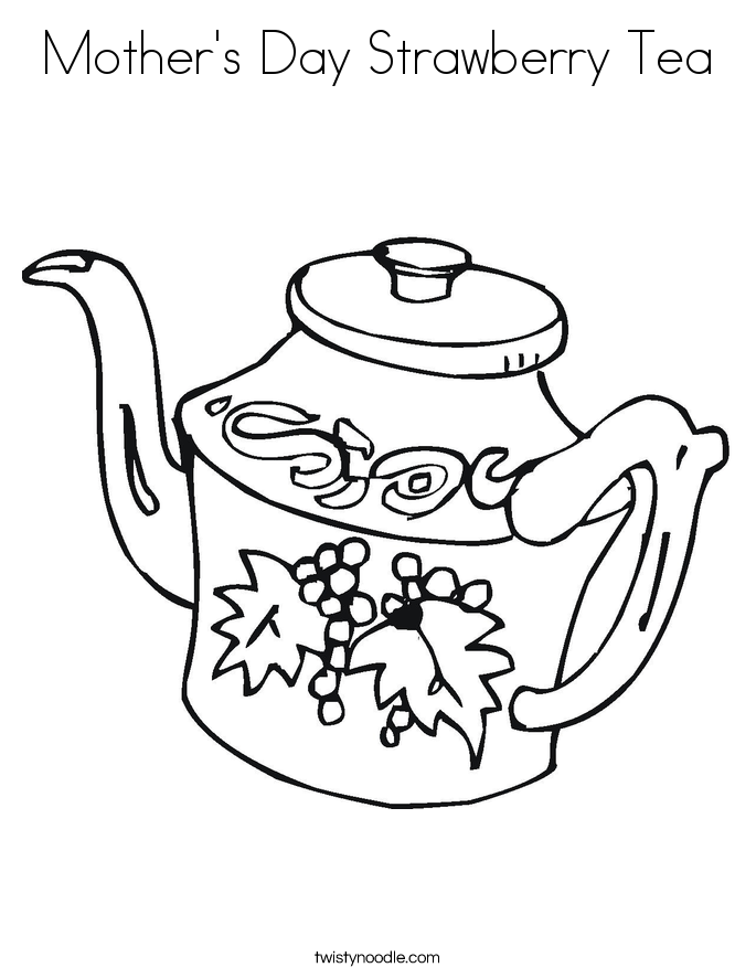 Mother's Day Strawberry Tea Coloring Page