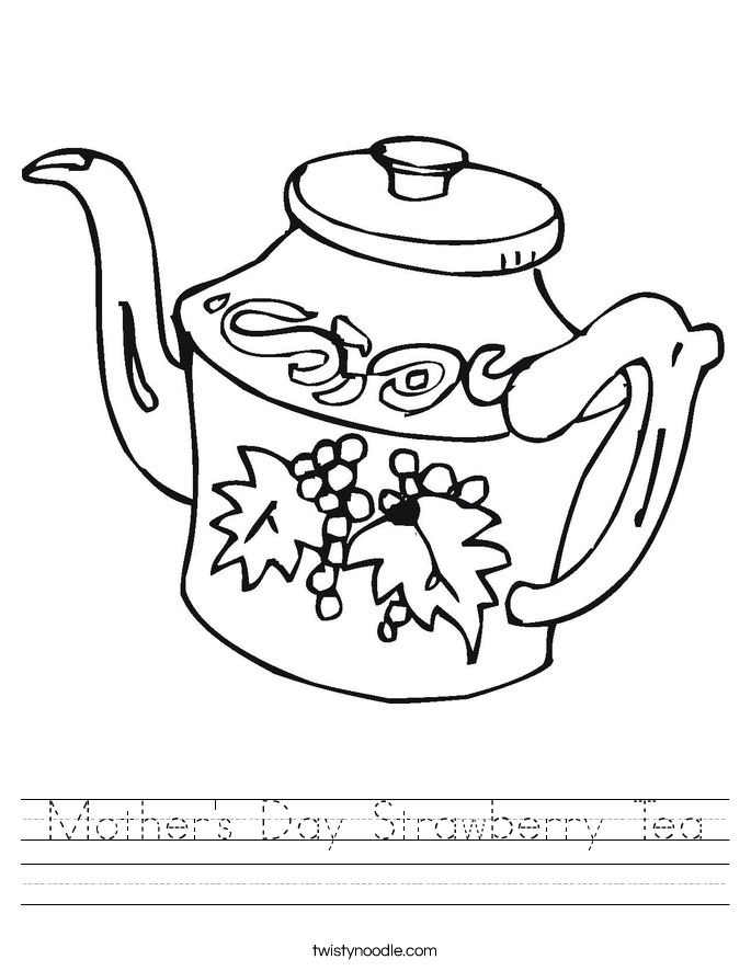 Mother's Day Strawberry Tea Worksheet