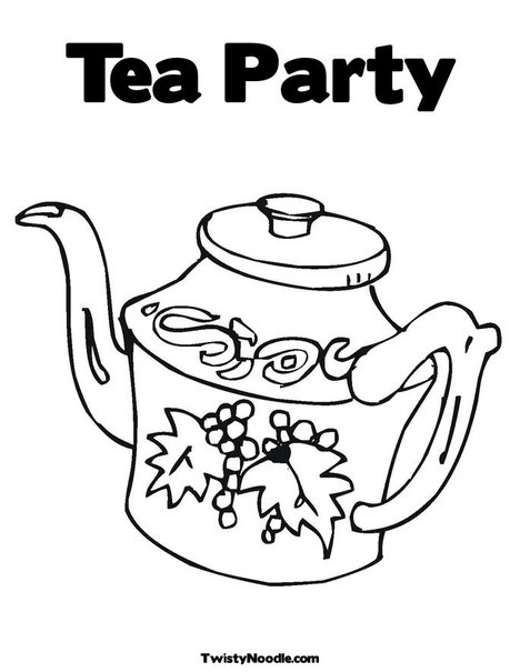 Tea kettle coloring pages for Tea party coloring page