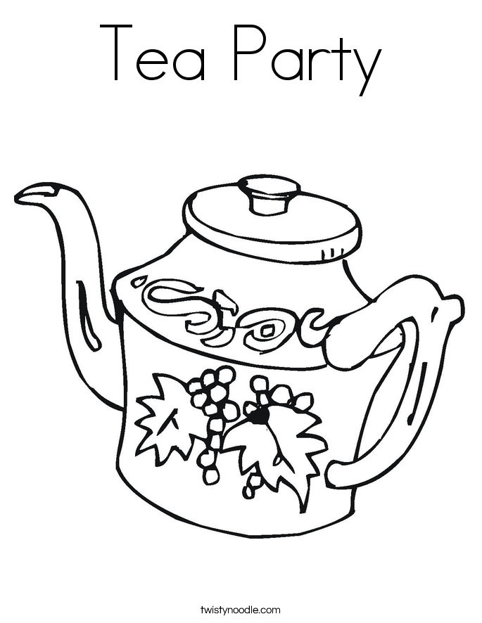 Tea party coloring page twisty noodle for Alice in wonderland tea party coloring pages