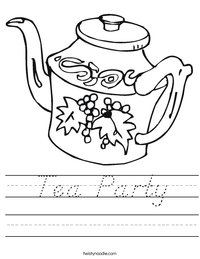 Tea Party Worksheet