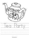 Tea Party Worksheet