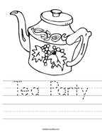 Tea Party Handwriting Sheet