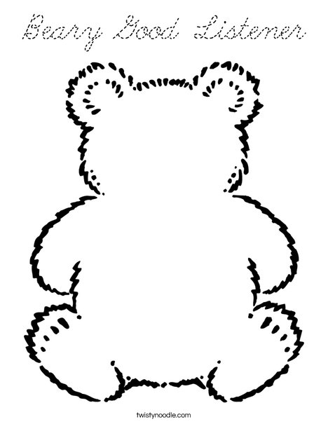 Blank Teddy Bear Coloring Page