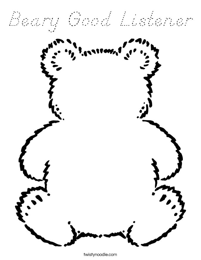 Beary Good Listener Coloring Page