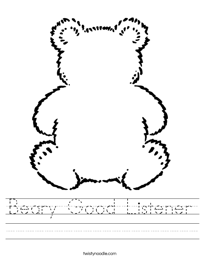 Beary Good Listener Worksheet