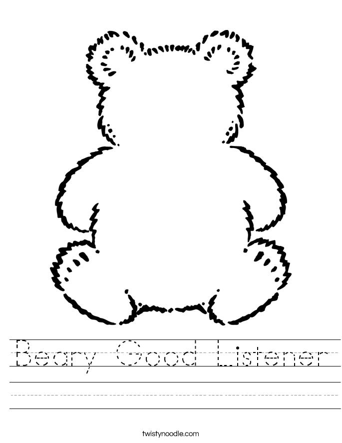 Beary Good Listener Worksheet