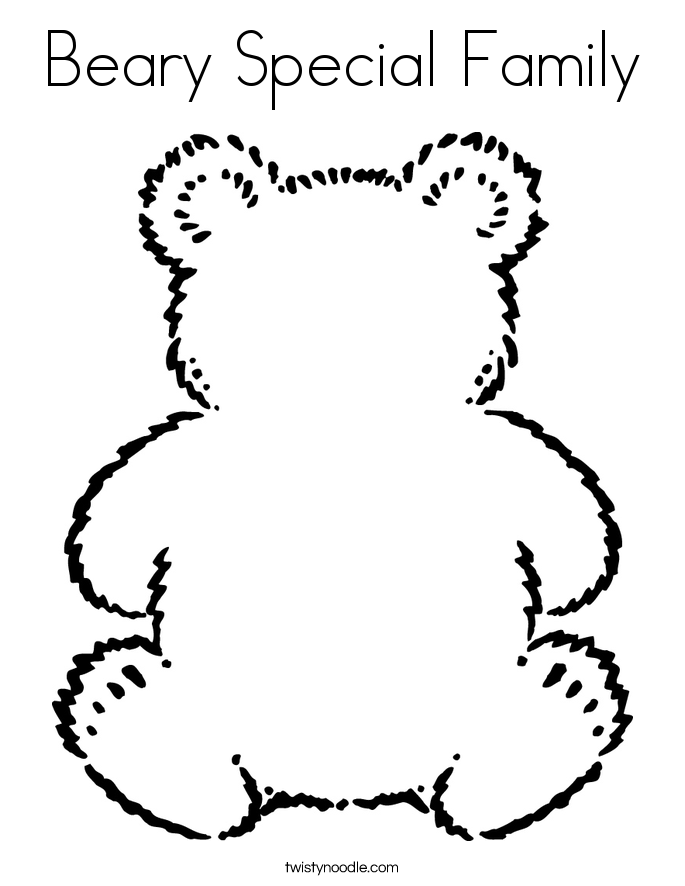 Beary Special Family Coloring Page