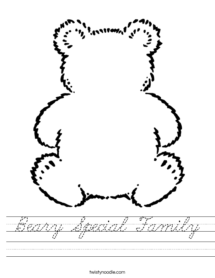 Beary Special Family Worksheet