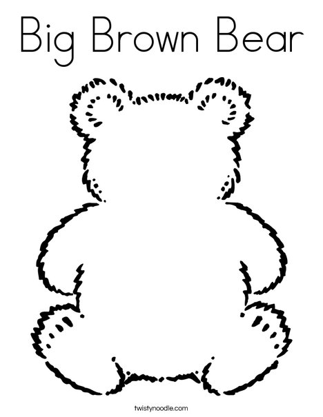 Big Brown Bear Coloring Page - Twisty Noodle