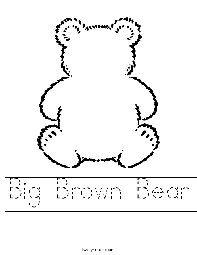 Big Brown Bear Worksheet
