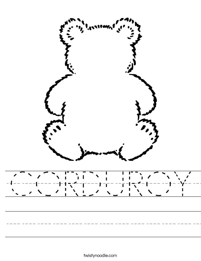 CORDUROY Worksheet