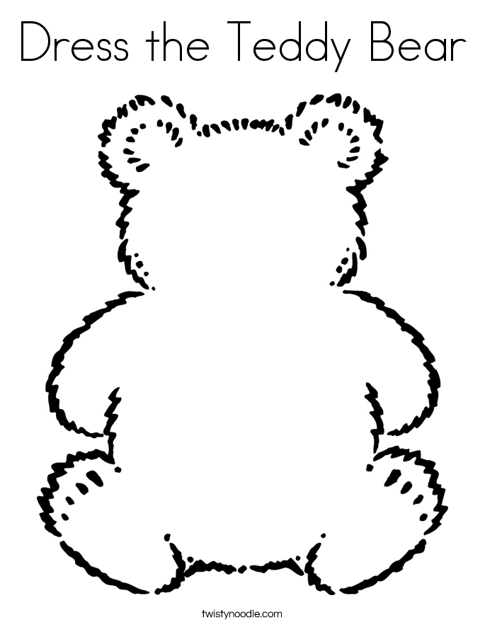Dress The Teddy Bear Coloring Page Twisty Noodle - teddy bear coloring pages for adults