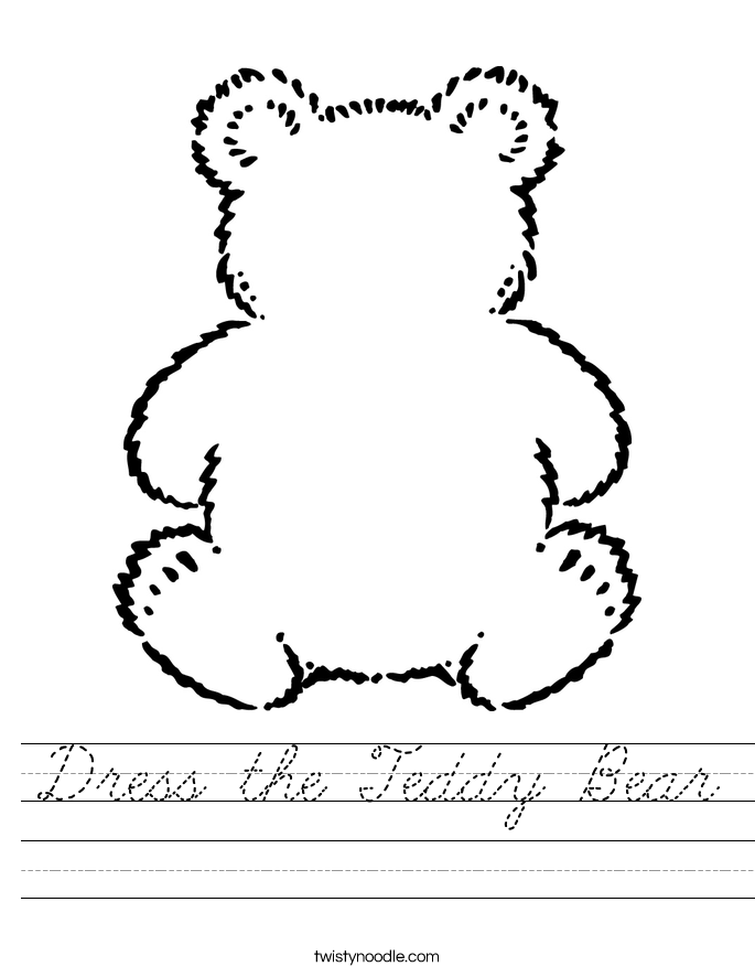 Dress the Teddy Bear Worksheet