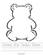 Dress the Teddy Bear Handwriting Sheet