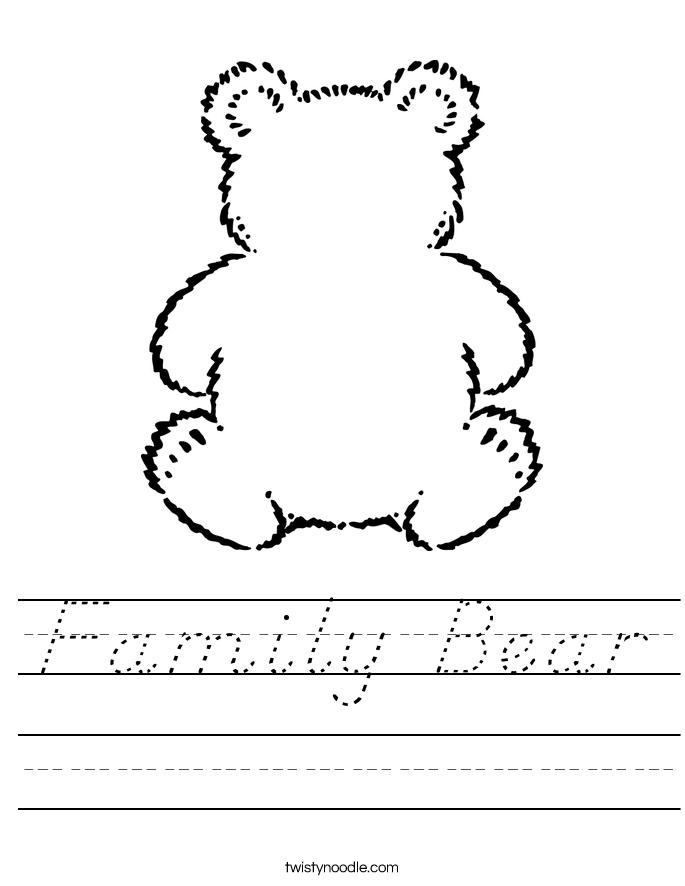 Family Bear Worksheet - D'Nealian - Twisty Noodle