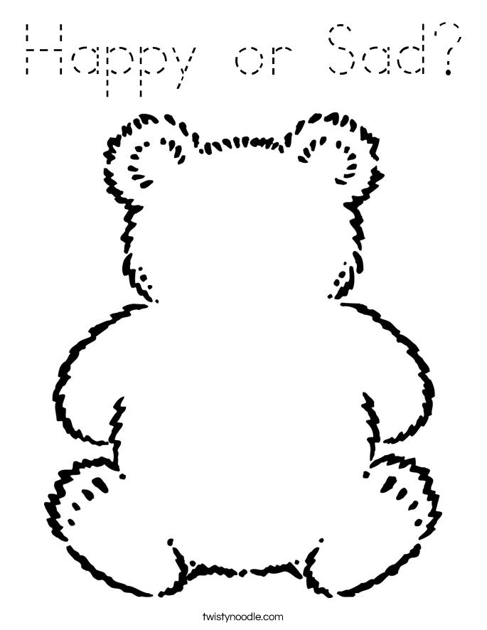 happy or sad coloring page - tracing