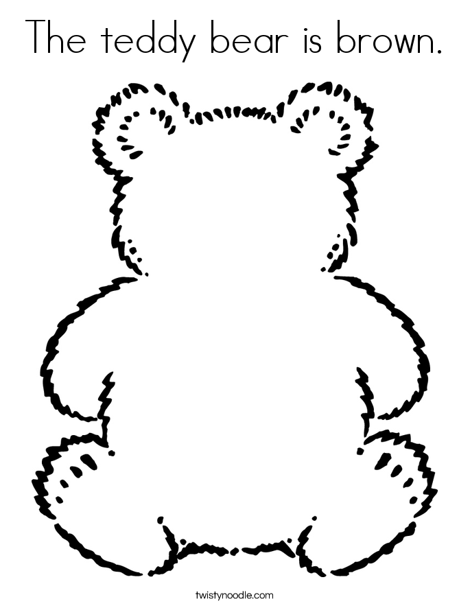 The teddy bear is brown. Coloring Page