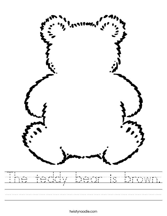 The teddy bear is brown. Worksheet