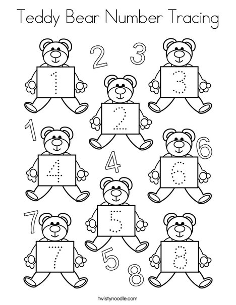 Teddy Bear Number Tracing Coloring Page
