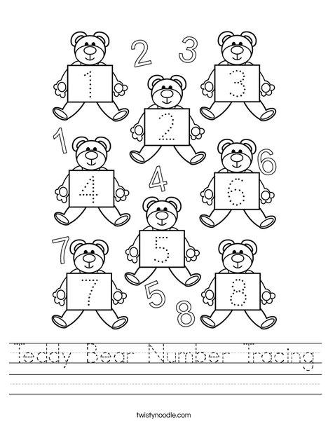 Teddy Bear Number Tracing Worksheet