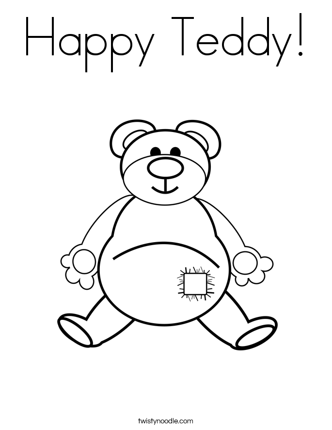 Happy Teddy! Coloring Page