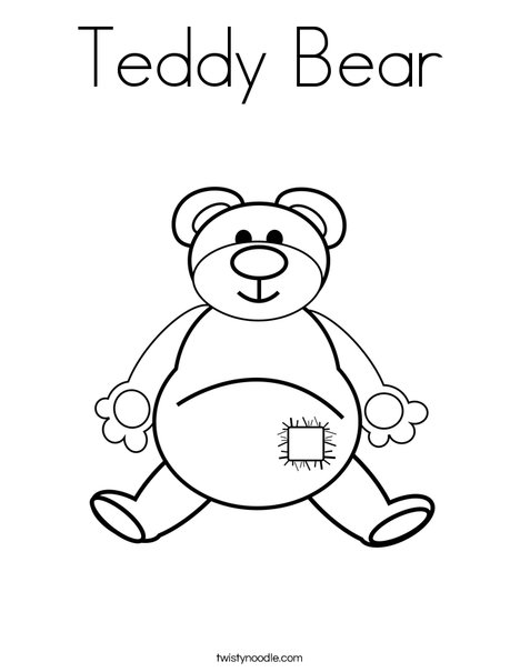 Teddy Bear with Patch Coloring Page