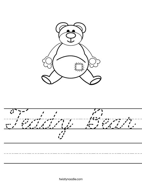 Teddy Bear with Patch Worksheet