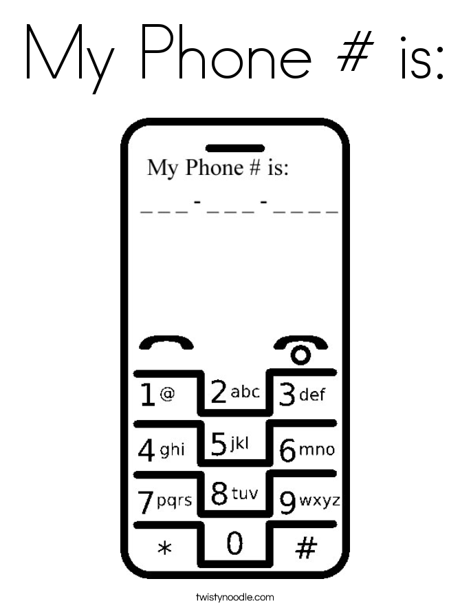 My Phone # is: Coloring Page