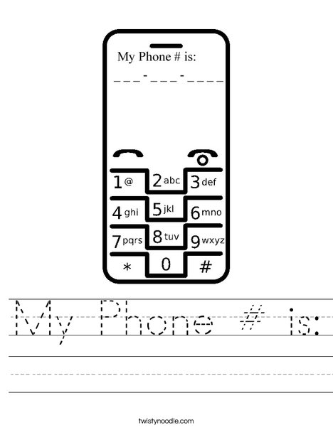 My phone is worksheet twisty noodle telephone worksheet ccuart Images
