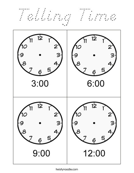 Telling Time Coloring Page