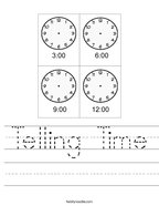 Telling Time Handwriting Sheet