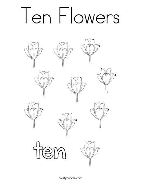 Ten flowers Coloring Page
