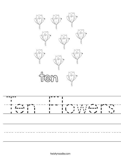 Ten flowers Worksheet
