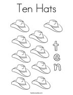 Ten Hats Coloring Page