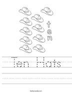 Ten Hats Handwriting Sheet
