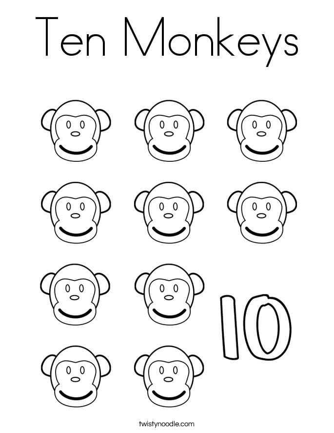 Ten Monkeys Coloring Page