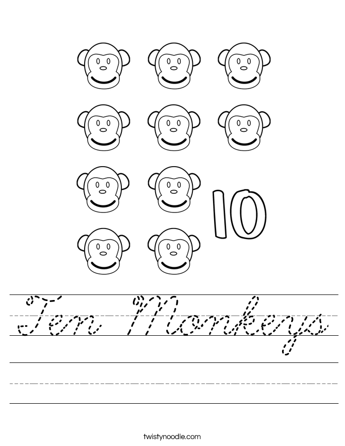 Ten Monkeys Worksheet