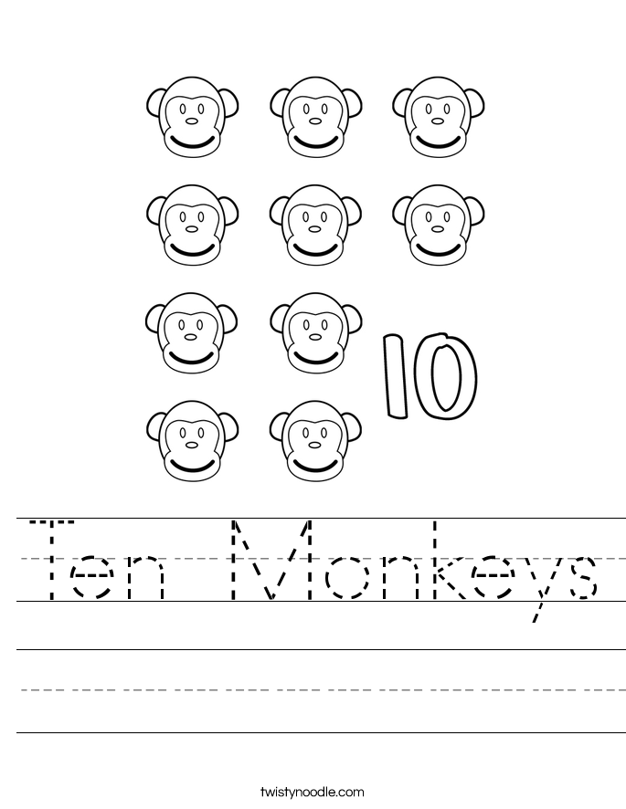 Ten Monkeys Worksheet
