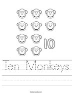Ten Monkeys Handwriting Sheet